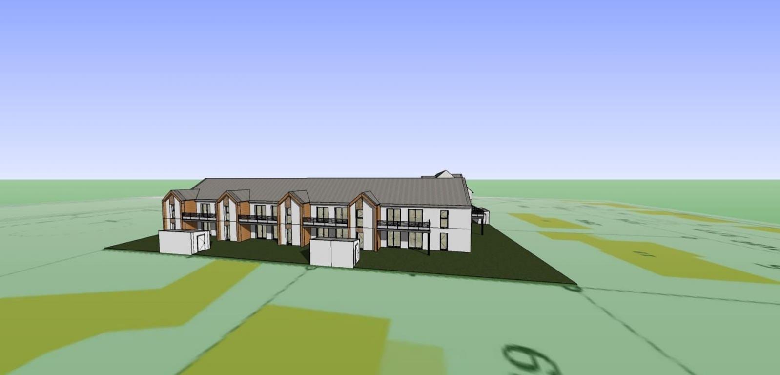 Plan 3D avant d'une résidence en cours de construction dans le Morbihan