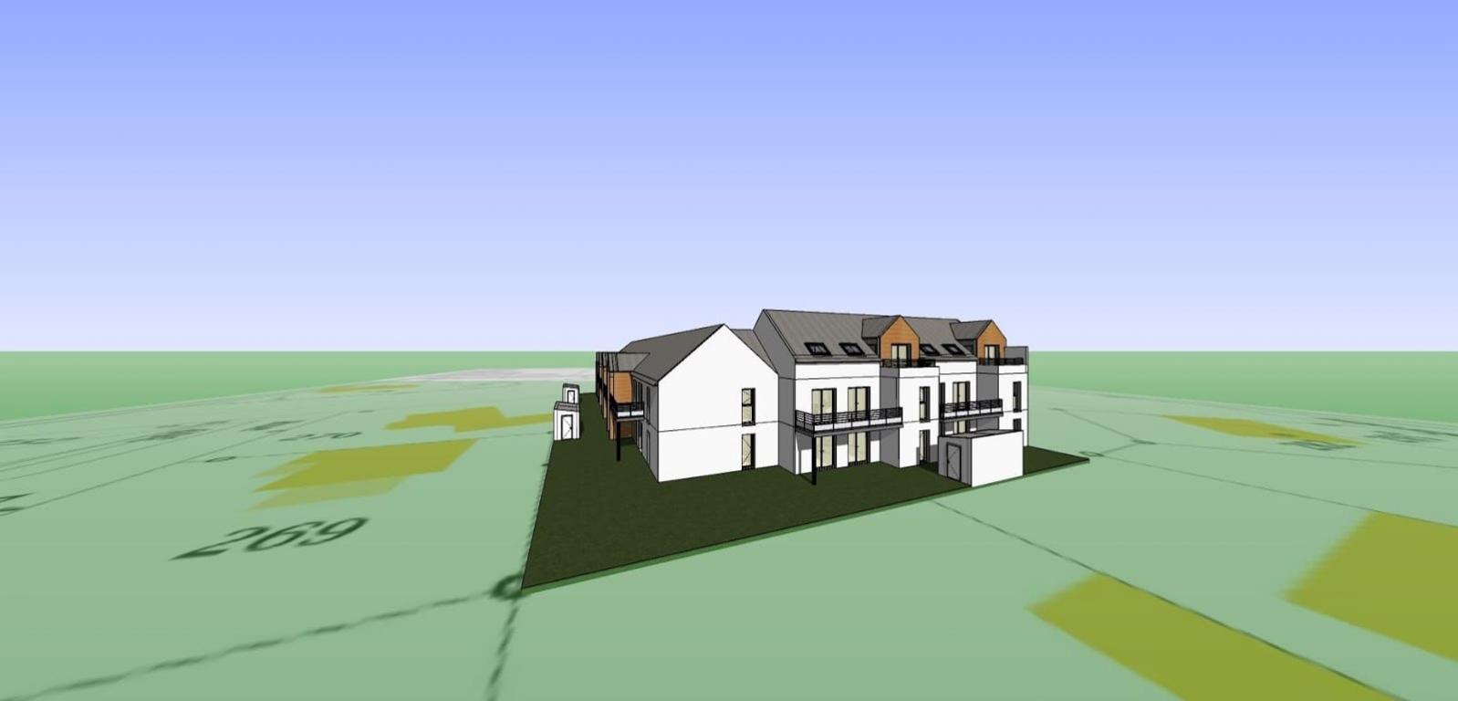 Plan 3D arrière d'une résidence en cours de construction dans le Morbihan