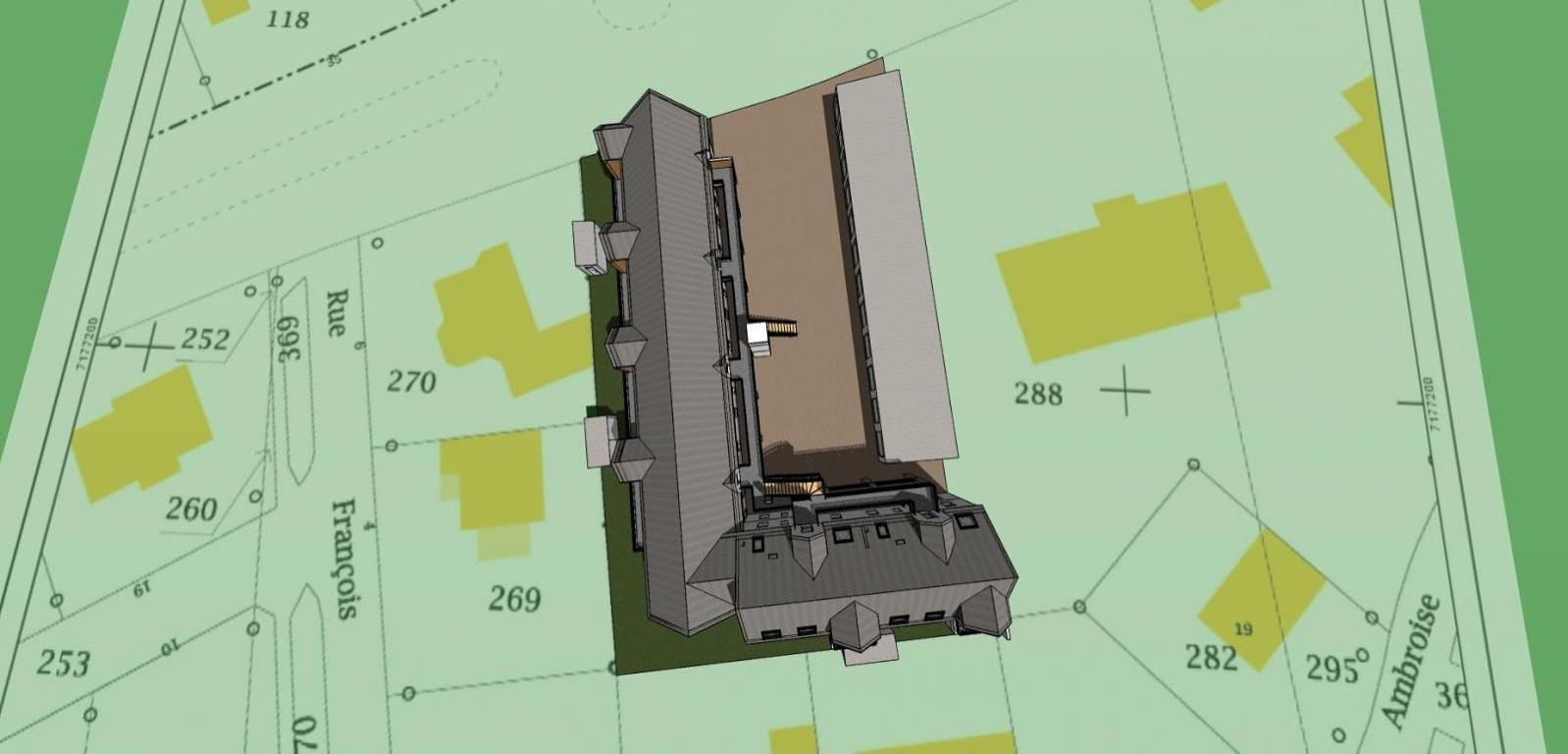 Plan 3D vue du ciel d'une résidence en cours de construction dans le Morbihan